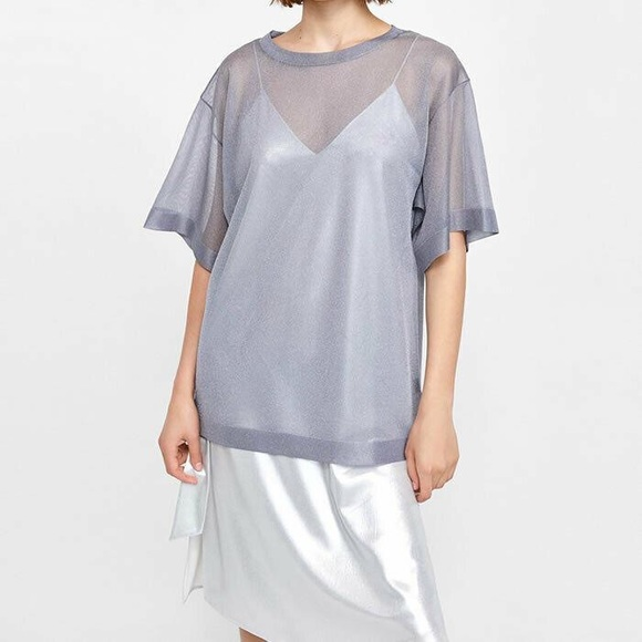 Zara Sheer Tunic Oversized Silver Top Large